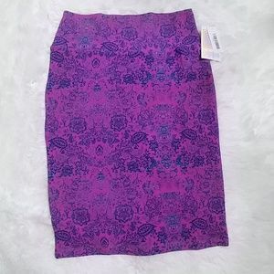 NWT LuLaRoe Hot Pink & Blue Cassie Pencil Skirt S